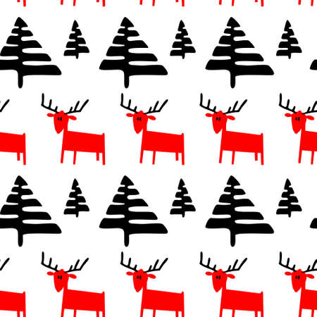 trees seasonal: Christmas seamless pattern with deers and pine trees. Vector illustration with cute animals and minimalistic plants in doodle childrens style. Winter design element for seasonal backgrounds and textile