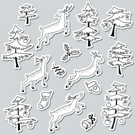 Christmad doodle stikers set with Christmas tree decorated with balls and cute jumping deers, bell, mitten and stoking