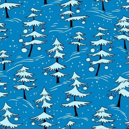 trees seasonal: Cute winter seamless pattern  with Christmas tree in doodle style. Many white pine trees with decoration balls. Design element for seasonal posters, backgrounds and textile