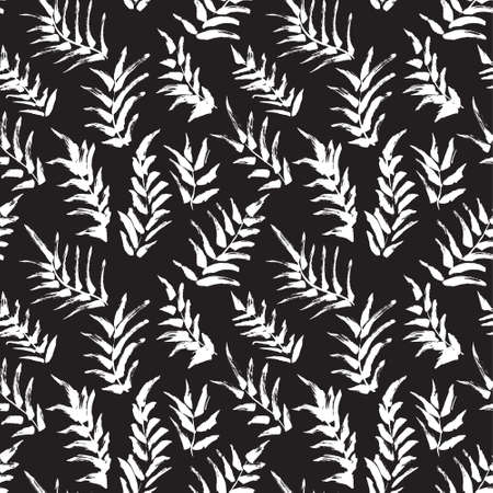 foliages: Ink seamless pattern with palm leaves in black and white colors. Artistic background with abstract plants. Design element for textile or wrapping paper Illustration