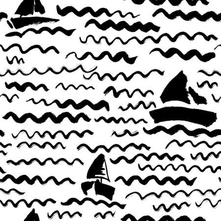 marine ship: Vector seamless pattern with waves and ship. Artistic ink background on marine theme in doodle minimalistic style. Design for backdrops with sea, rivers or water texture