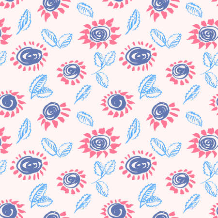artistic flower: Artistic seamless pattern with flower and leaf. Abstract ink floral background in doodle style. Design for wrapping and textile