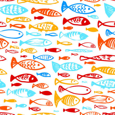 life style: Hand drawn seamless pattern with doodle fishes. Ink illustration of underwater life in artistic incomplete style. Design for textile and wrapping backgrounds