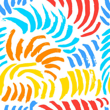 Hand drawn artistic seamless pattern with abstract simply elements. Doodle colorful ink background for textile and wrapping paper