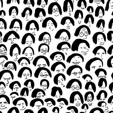 ink drawing: Artistic seamless pattern with crowd of people. Ink drawing simply faces in doodle style. Design for social media, backgrounds and textile or wrapping design
