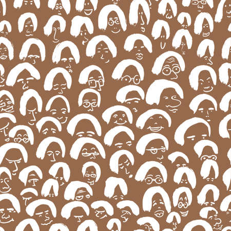 crowd people: Artistic seamless pattern with crowd of people. Ink drawing simply faces in doodle style. Design for social media, backgrounds and textile or wrapping design