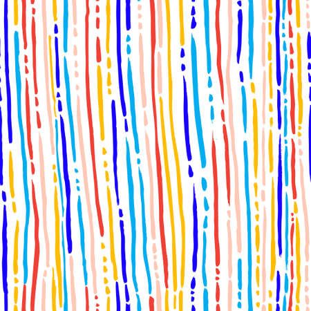 textile background: Ink abstract seamless pattern. Background with artistic strips and dots in colorful sketchy style. Design element for backdrops and textile