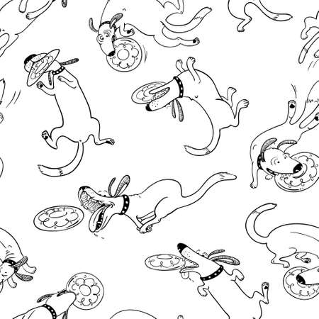 retrieving: Cute activity dogs vector seamless pattern. Doodle background with frisbee sport pets. Funny animals playing, catching and retrieving plastic disk.  Black and white color version
