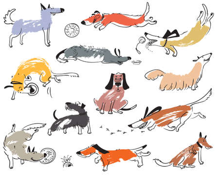Hand drawn doodle cute dogs. Illustration set with plaing pets with disk, freesbee, ball, sniffing, tracking. Artistic canine vector characters