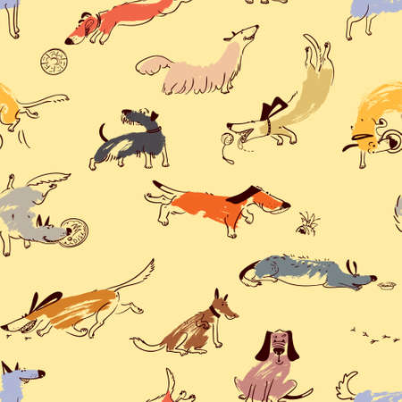 Hand drawn doodle cute dogs. Seamless pattern with plaing pets with disk, freesbee, ball, sniffing, tracking. Artistic canine vector characters. Background with sketchy domestic animals Illustration