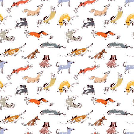 sniffing: Hand drawn doodle cute dogs. Seamless pattern with playing pets with disk,  ball, sniffing, tracking. Artistic canine vector characters. Background with sketchy domestic animals Illustration
