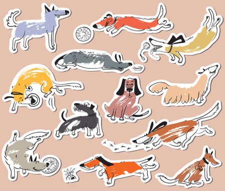 sniff: Hand drawn doodle cute dogs. Stickers set with plaing pets with disk, freesbee, ball, sniffing, tracking. Artistic canine vector characters Illustration