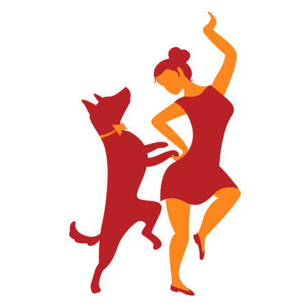 Icon with girl and dog. Vector illustration with dancing woman and cute dog. Pictogram for cynological sports and activity as heelwork to music, freestyle, dog training, tricks, obedience. Simply design element