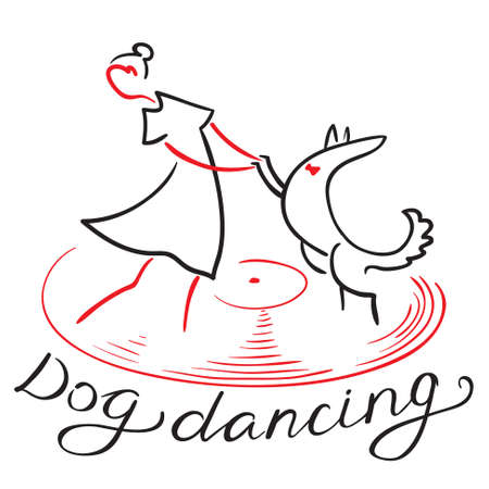 Dog dancing icon. Girl with dog dance on vinyl record. Heelwork to music logotype. Mascot for cynological freestyle. Vector design element