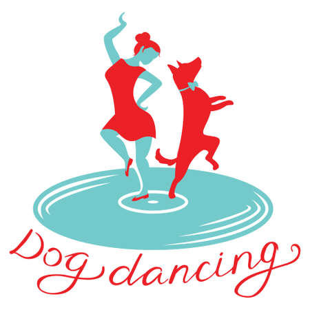 Dog dancing icon. Girl with dog dance on vinyl record. Heelwork to music logotype. Mascot for cynological freestyle. Vector design element Illustration