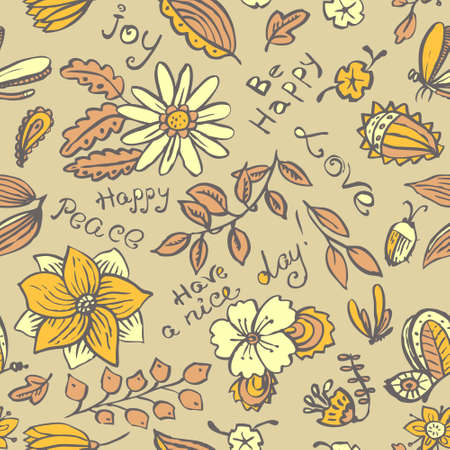 floral backgrounds: Vector floral seamless pattern with butterfly and dragonfly in doodle line art style. Hand drawn artistic ink illustration with insects and flowers. Design element for backgrounds and textile, wrapping and backdrops Illustration