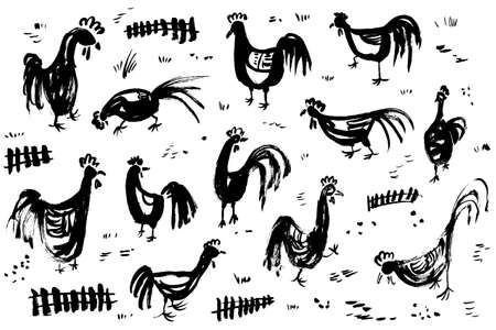 rural scene: Ink artistic drawing with roosters. Set with cocks and fence in rural scene. Vector illustration in doodle incomplete style with domestic chicken birds in black and white Illustration
