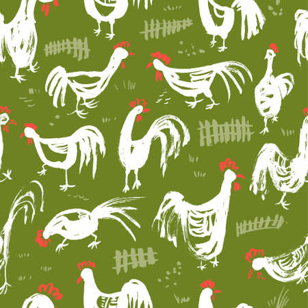 rural scene: Seamless pattern with roosters. Ink artistic drawing with cocks and fence in rural scene. Vector illustration in doodle incomplete style with domestic chicken birds