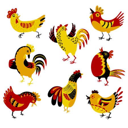 aves caricatura: Set con gallos decorativos. Aislado animales de granja. vector aves de dibujos animados. personajes de pollo lindo en el estilo de dibujo.