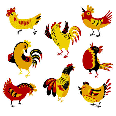 birds cartoon: Set with decorative roosters. Isolated farm pets. Cartoon vector birds. Cute chicken characters in doodle style. Illustration