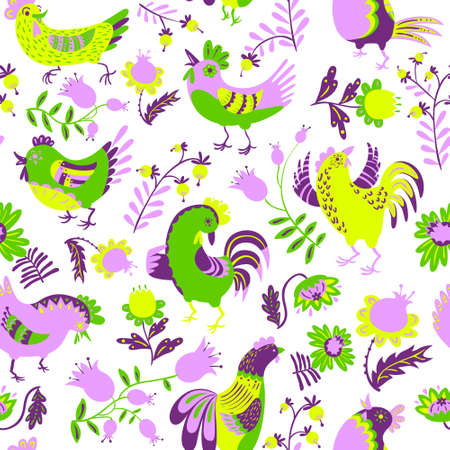 Seamless pattern with roosters. Cute decorative floral background with hen and chicken in ethnic colorfil style. Backdrop for textile and easter cards Illustration