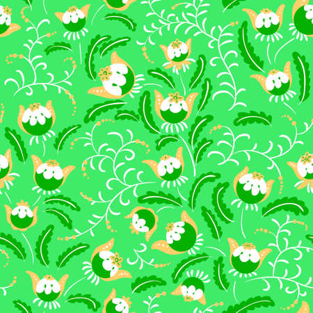 beautiful flowers: Abstract seamless floral pattern in a doodle style, vector decorative background. Design with fantazy plants for textille, wrapping paper