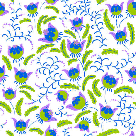 textille: Abstract seamless floral pattern in a doodle style, vector decorative background. Design with fantazy plants for textille, wrapping paper