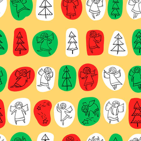 personages: Seamless pattern with doodle dancing angels and pine trees and stars. Winter Christmas background with myphology religion characters. Line art design cartoon personages. Minimalistic red and green version