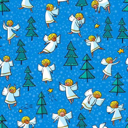 personages: Seamless pattern with doodle dancing angels and pine trees and stars. Winter Christmas background with myphology religion characters. Line art design cartoon personages.