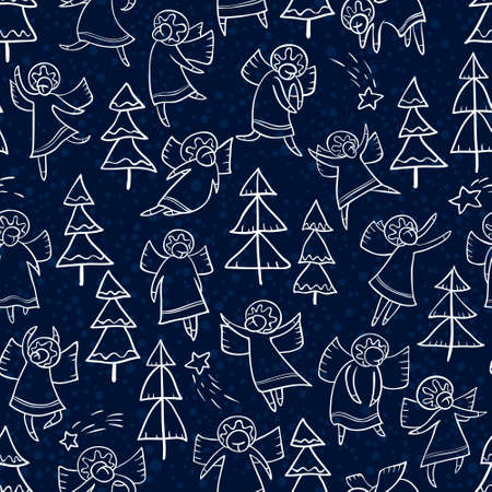 personages: Seamless pattern with doodle dancing angels and pine trees and stars. Winter Christmas background with myphology religion characters. Line art design cartoon personages