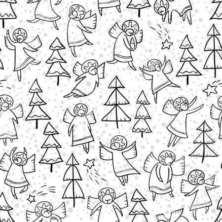 personages: Seamless pattern with doodle dancing angels and pine trees and stars. Winter Christmas background with myphology religion characters. Line art design cartoon personages. Minimalistic monochrome version