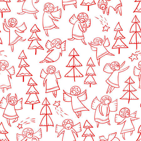 Seamless pattern with doodle dancing angels and pine trees and stars. Winter Christmas background with myphology religion characters. Line art design cartoon personages. Minimalistic red and white version
