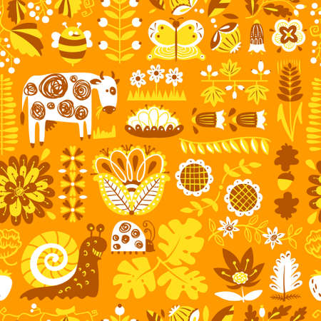vintage patterns: Floral seamless pattern with animals and insects. Background with abstract cartoon flat flowers and leaves, cow, snail, ladybird, butterfly. Design elements for wrapping and textile