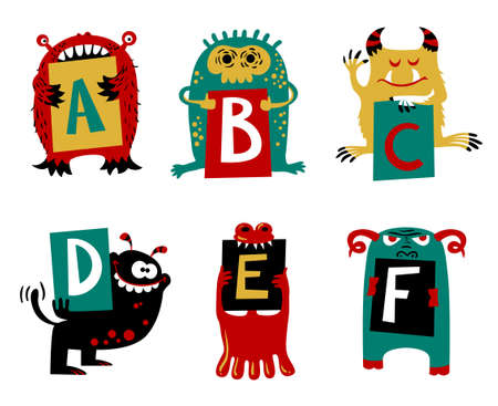 fictional: Kids alphabet with ?cute colorful monsters or insects. Funny fictional character with letters in their paws. Vector illustration for school and education
