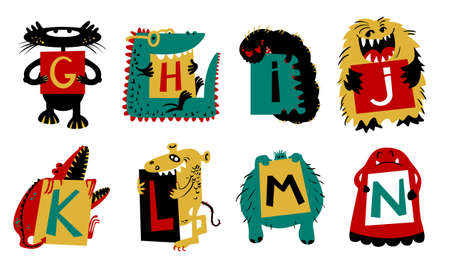 fictional character: Kids alphabet with ?cute colorful monsters or insects. Funny fictional character with letters in their paws. Vector illustration for school and education