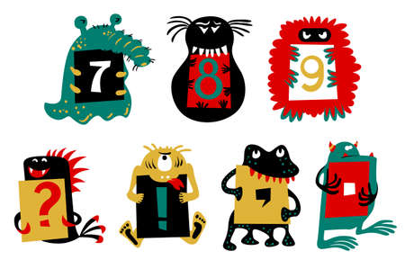 fictional character: Kids alphabet with ?cute colorful monsters or insects. Funny fictional character with numbers  in their paws. Vector illustration for school and education