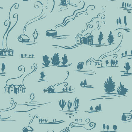 incomplete: Hand drawn seamless pattern winter landscape with houses in doodle incomplete style. Artistic  illustration of country side. Design element for Christmas wrapping paper, cards and posters