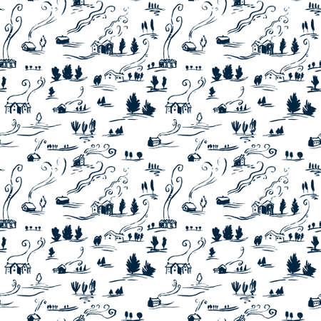 incomplete: Hand drawn seamless pattern winter landscape with houses in doodle incomplete style. Artistic blue and white illustration of country side. Design element for Christmas wrapping paper, cards and posters