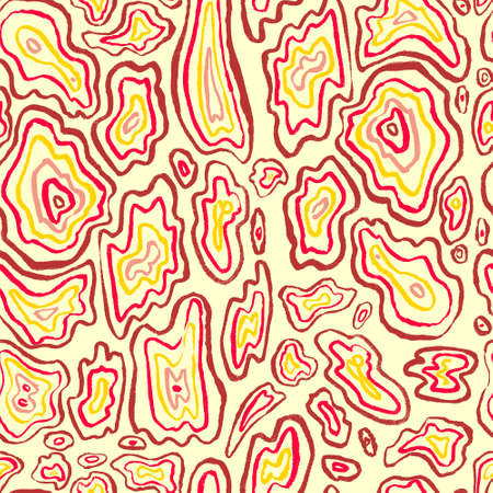 retro wallpaper: Abstract seamless pattern. Hand drawn artistic ink curves. Red and yellow colors background. Design element for textile and wrapping paper Illustration