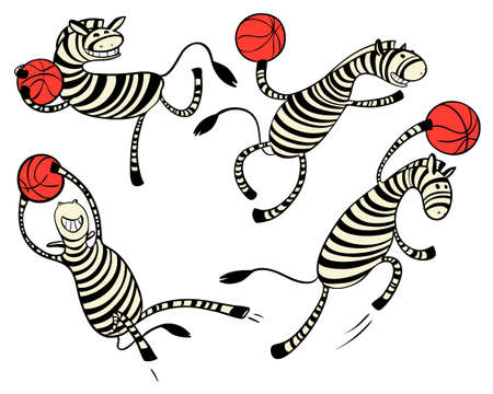Basketball game set with doodle cute zebra player. Character with ball. Action poses. Vector illustration Illustration