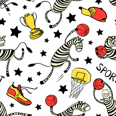 stripped: Basketball game seamless pattern with doodle cute zebra player. Background with sport attribute - cup, basket, shoe, stars, ball. Action poses. Vector illustration Illustration