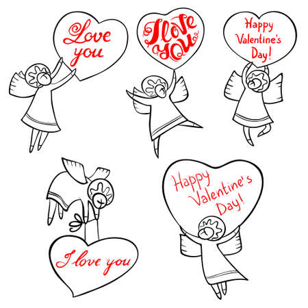 cute cards: Valentines Day angels set with cute hand drawn lettering. I love you inspirational quote. Cupids with red hearts. Doodle characters for selebration cards and design