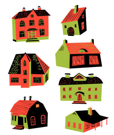 ownership: Cute vector illustration with doodle houses. Architecture drawing. Buildings with windows and roofs. Set with houses design elements