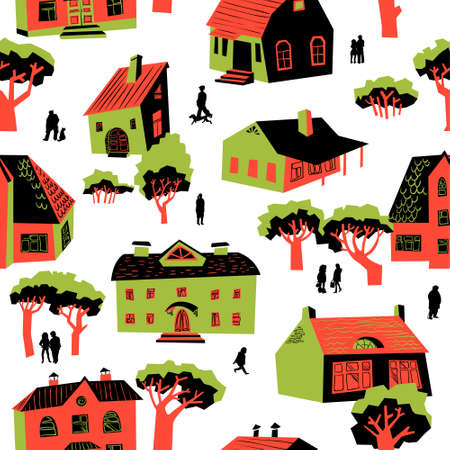 Seamless pattern with houses. Cute town vector illustration. Architecture background with doodle cute buildings and trees and people. Simply cartoon drawing Illustration