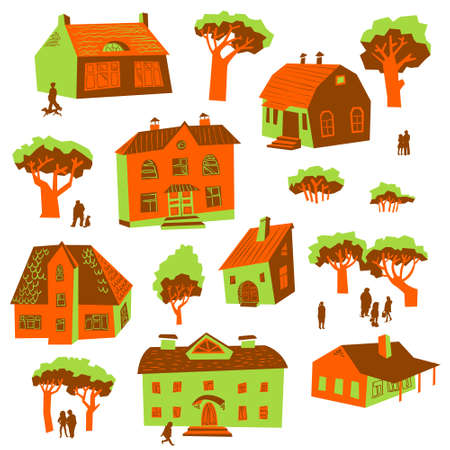 Architecture design elements. Set of cute buildings. Doodle houses with trees and people silhouettes. Simply cartoon drawing