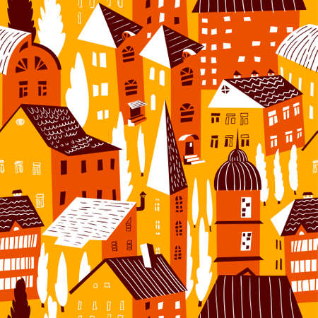 drawing trees: Seamless pattern with houses. Cute town vector illustration. Architecture background with doodle cute buildings and trees. Simply cartoon city drawing