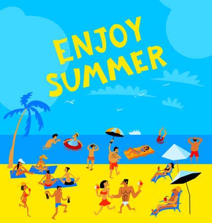 Sommer-Strand-Leute eingestellt.