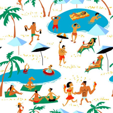 夏天海滩人无缝模式。