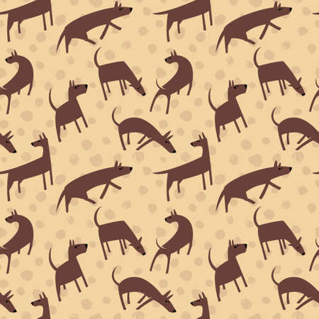 perros graciosos: Seamless pattern with dogs. Simple vector style animals. Background with cute pets characters. Vector illustration. Brown colors