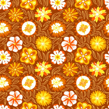 abstract doodle: Floral seamless pattern. Background with abstract flowers and leaves in doodle style. Vector colorful illustration